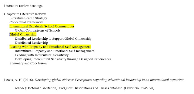 Dissertation Table of Contents Containing the Highlighted Terms from the Problem Statement