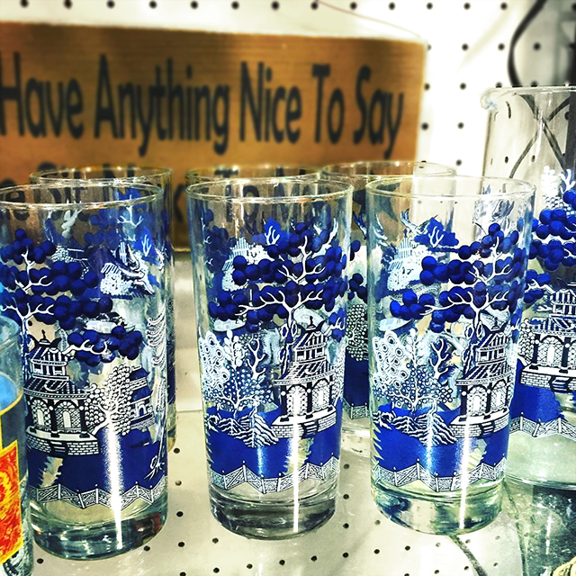 #thriftscorethursday Week 98 | Instagram user: blissfully37 shows off this Blue and White Vintage Shot Glasses