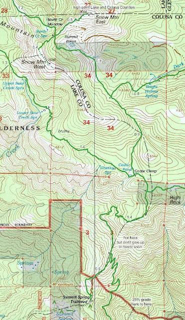 Summit Springs trailhead map to snow mountain