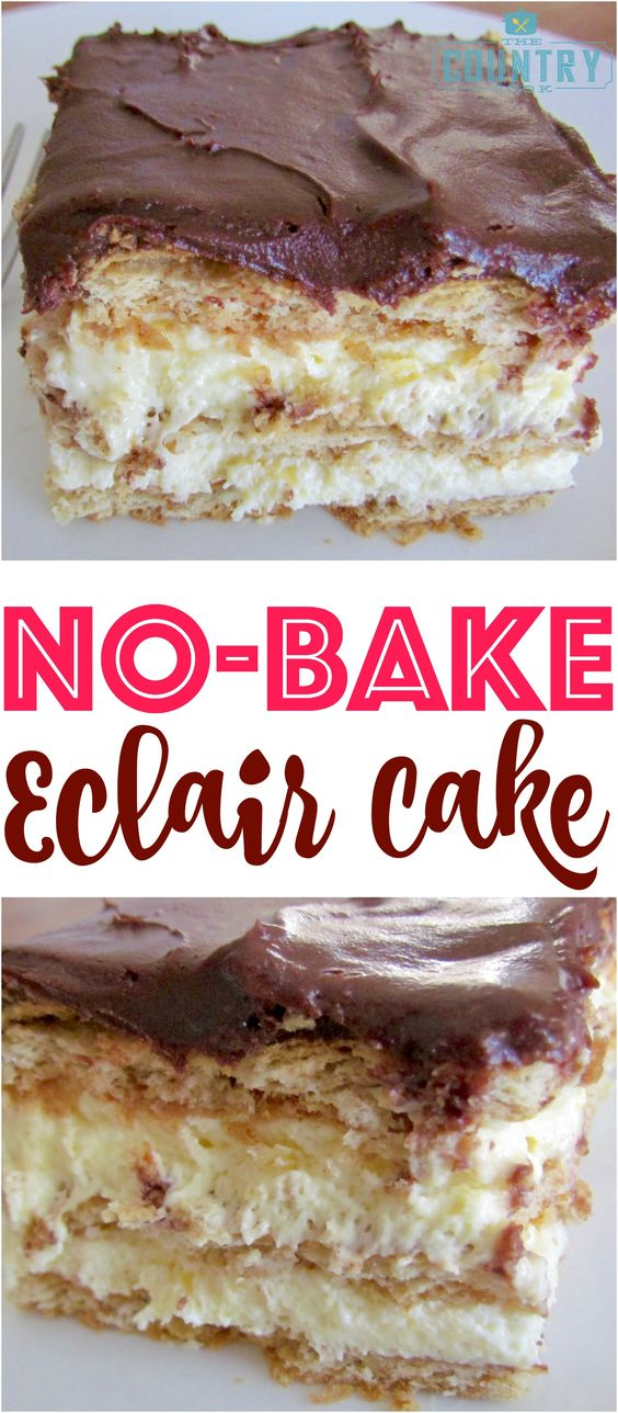No-Bake Eclair Cake #nobake #eclair #cake #cakerecipes #dessert #dessertrecipes #easyrecipes