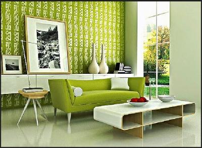 Desain ruang tamu dengan Tema Hijau yang Menyegarkan