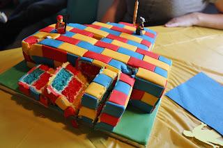 Lego birthday party cake