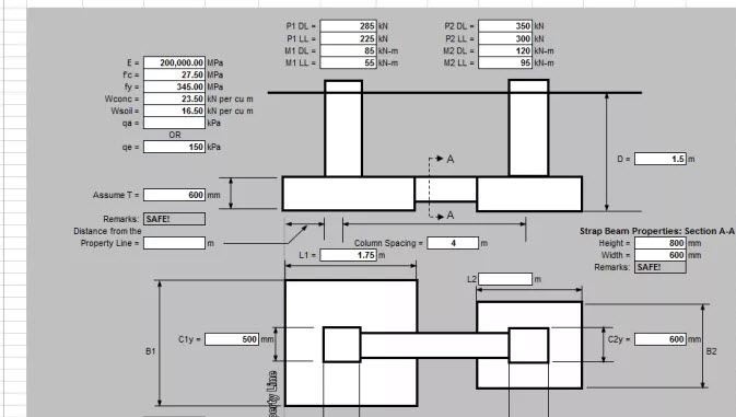Combined Strap Footing Design Excel Sheet