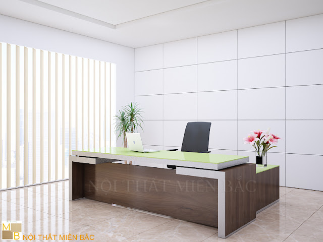 Chiếc bàn veneer giám đốc này được thiết kế mặt bàn với gam màu xanh non thật bắt mắt tạo cho không gian sự bắt mắt và nét thẩm mỹ cao