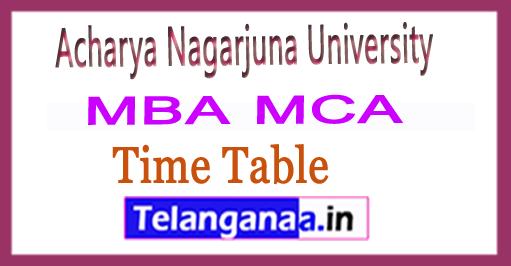 Acharya Nagarjuna University ANU MBA MCA 1st Sem Time Table 2018