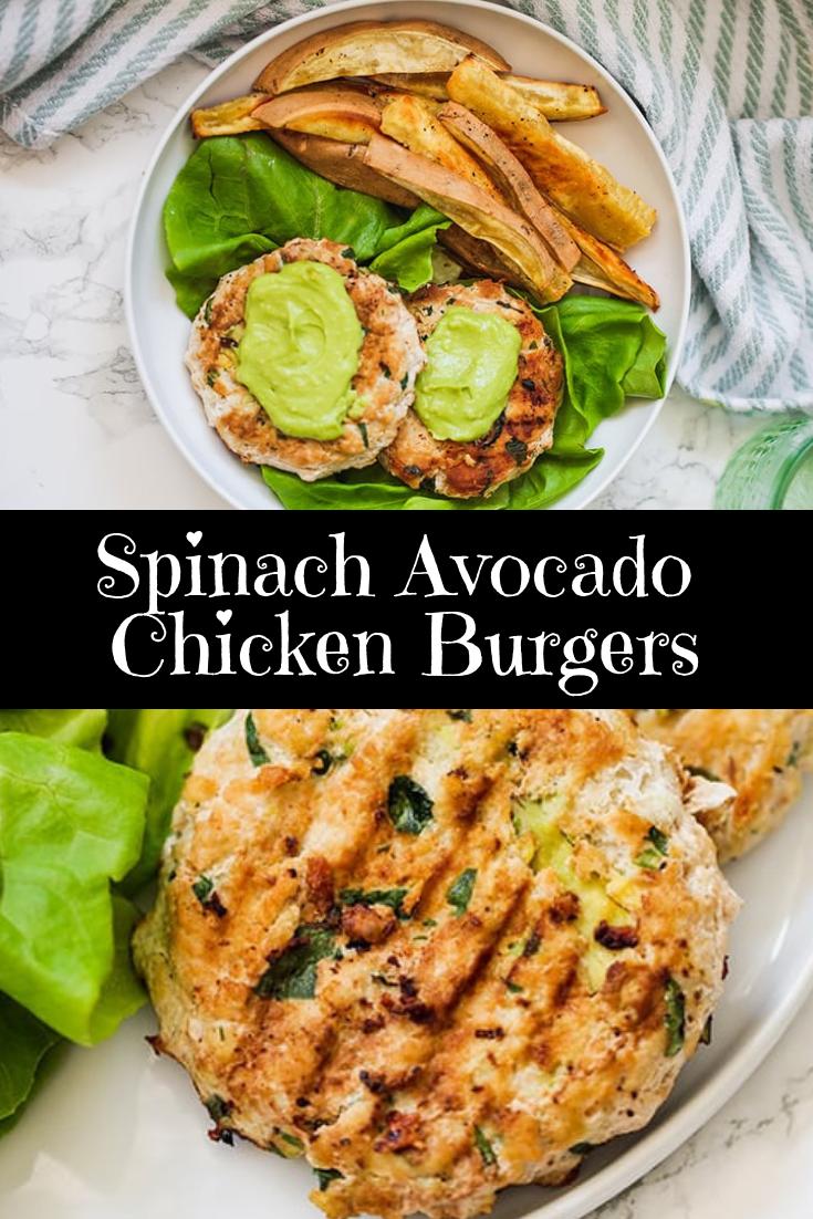 Spinach Avocado Chicken Burgers Recipe