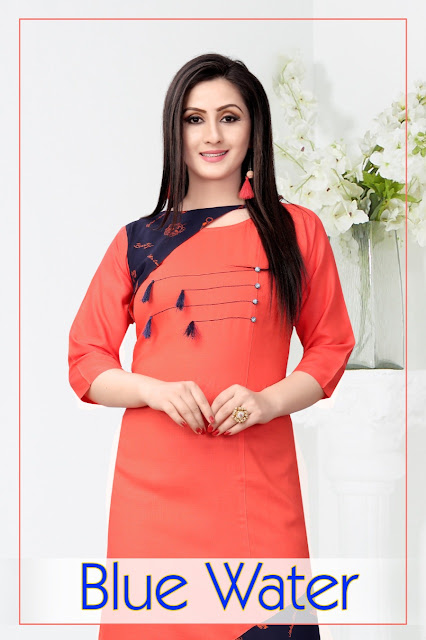 Sitka Fashion Blue water Casual wear kurtis wholesaler