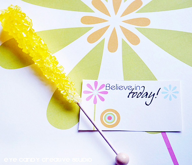 believe in today, rock candy, daisy art, graphis art print, spring art
