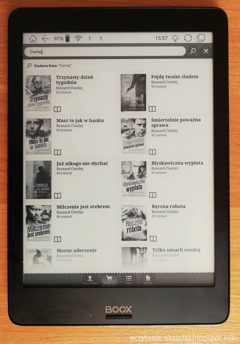 Wyszukiwanie e-booków w ofercie Legimi na czytniku Onyx Boox Nova