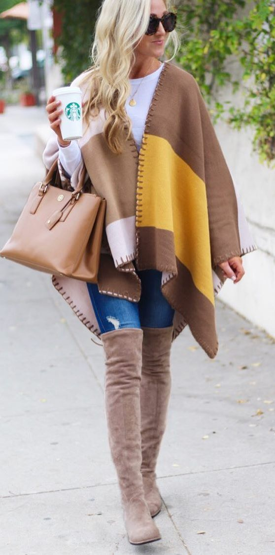 amazing fall outfit / bag + rips + poncho + over the knee boots