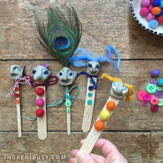 Popsicle stick clay puppets craft