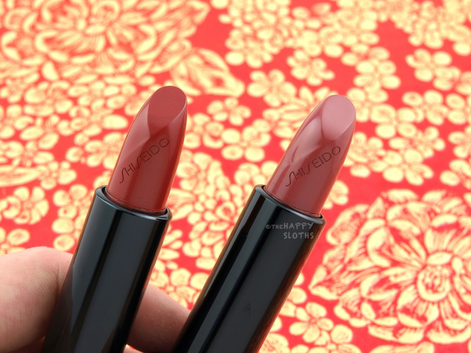 Shiseido Rouge Rouge Lipstick | Crushed Rose & Real Ruby: Review and Swatches
