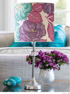 Flower cross stitch lampshade by Bobbin and Fred