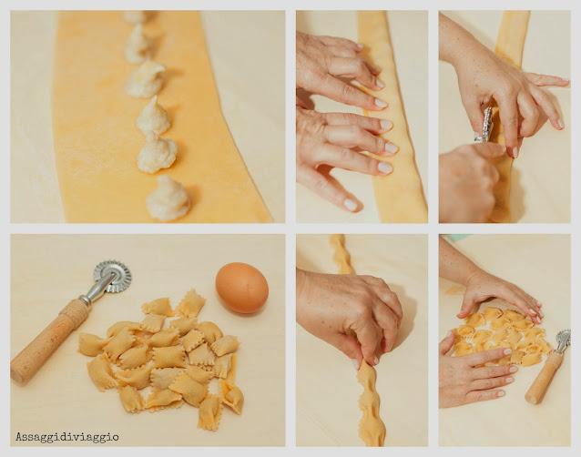 Ravioli del plin al gorgonzola e fichi con burro chiarficato, noci e cubetti di gelatina di Porto