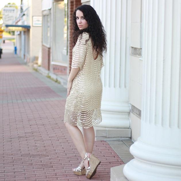 Gold Sequin Shift Dress