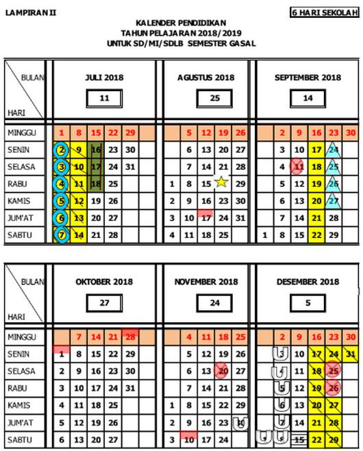 Kalender Pendidikan 2018/ 2019 Jawa Tengah Semester Ganjil untuk SD/ MI/ SDLB