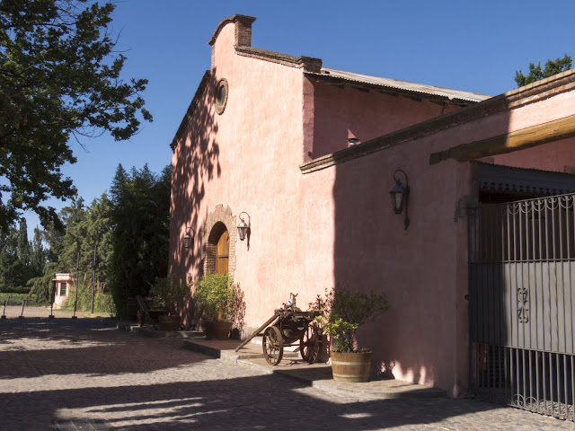 Pink building at Clos de Chacras winery near Mendoza Argentina