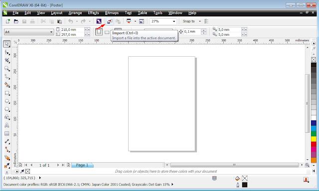 Menetukan ukuran kertas dan insert gambar poster