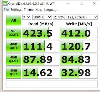 hasil test speed SSD External + OTG 3.0 Type C