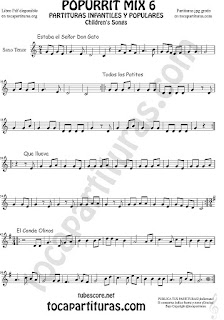 Mix 6 Partitura de Saxo Tenor Estaba el Señor Don Gato, Todos los Patitos, Qué llueva Infantil, El Conde Olinos Mix 6 Sheet Music for Tenor Saxophone Music Scores