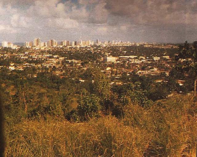 Foto 17 - Aí vemos trecho considerável da área norte de Vitória. à esquerda e ao fundo aparece o mar. Foto do autor, outubro de 1989.