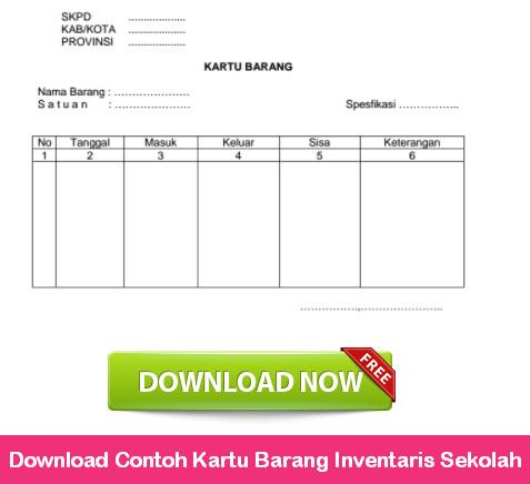 Download Contoh Kartu Barang Inventaris Sekolah