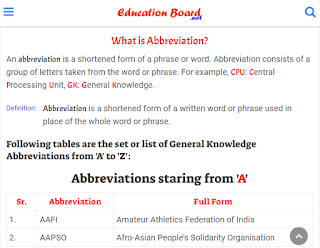 Abbreviation: Definition and Examples of Abbreviation From A to Z