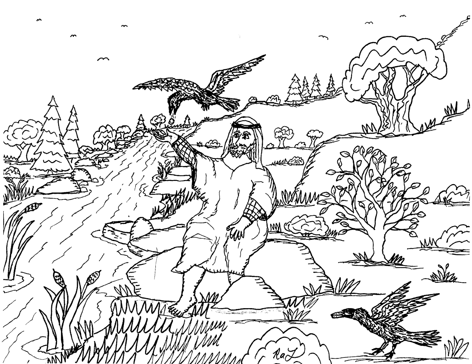 Robin's Great Coloring Pages: Elijah Fed By The Ravens