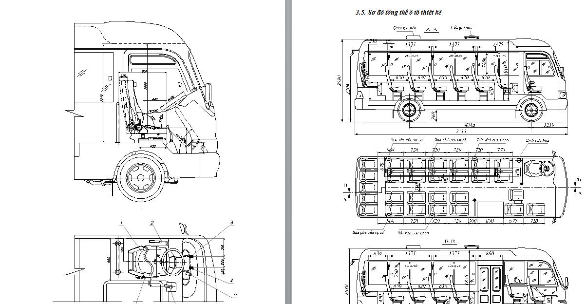 Thiết kế kỹ thuật ôtô khách 29 chỗ ngồi trên cơ sở ôtô huyndai county