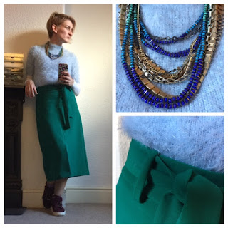 Primark eyelash jumper, warehouse midi skirt, stella and dot necklace
