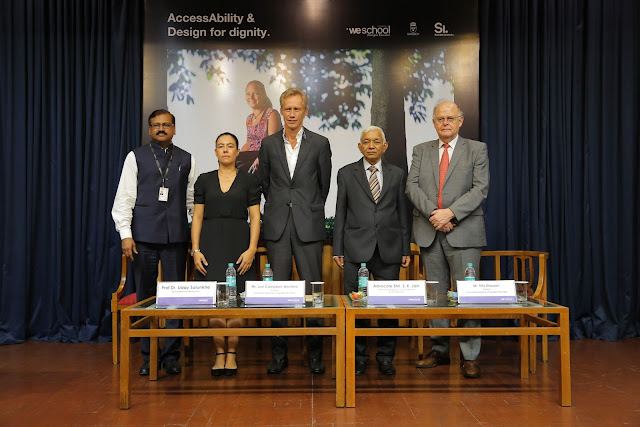 (L-R) Prof   Dr Uday Salunkhe, Group Director, WeSchool,  Curator of the exhibition, Ms. Margarita Bergfeldt Matiz,Acting Consul General of Sweden in Mumbai Mr. Jan Campbell Westlind,  and  Mr. S.K Jain, Chairman, LMC, WeSchool and Shikshana Prasaraka Mandali