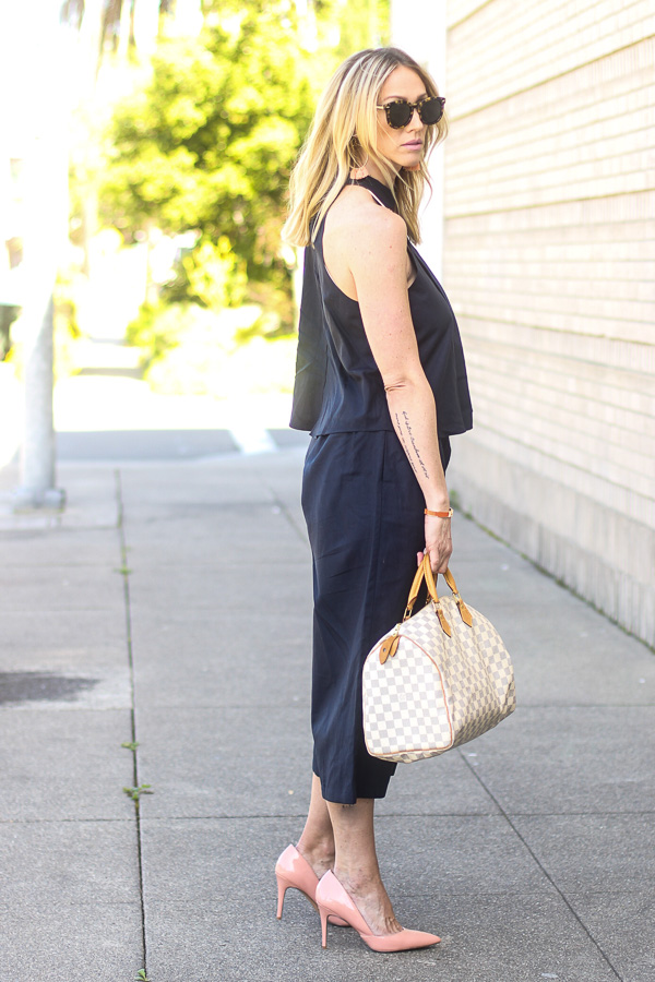 navy culottes navy high neck tank