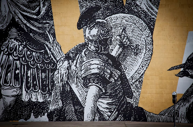 Street Art By American Urban artists Cyrcle And French singer Woodkid in Los Angeles, USA. 2