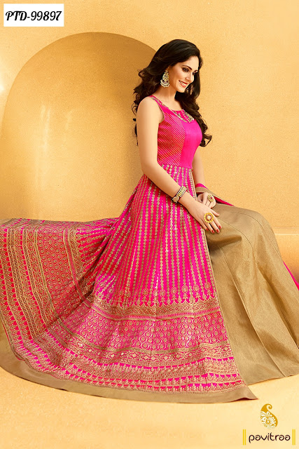 Bollywood Actress Bruna Abdullah Special Pink Color Wedding Anarkali Suits for Bride Online Shopping with Discount Price and COD