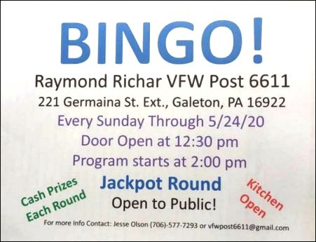 Every Sunday- BINGO at the Galeton VFW
