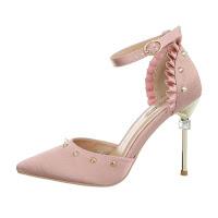 Sandale elegante, roz, cu volanase