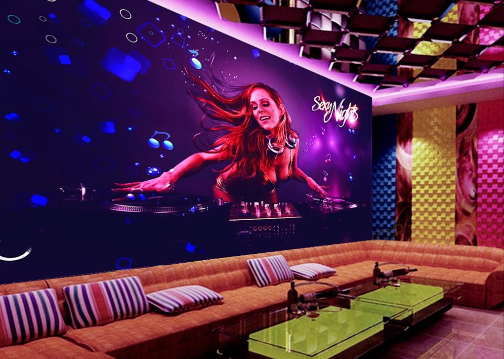 Tranh dán tường 3d trang trí quán karaoke