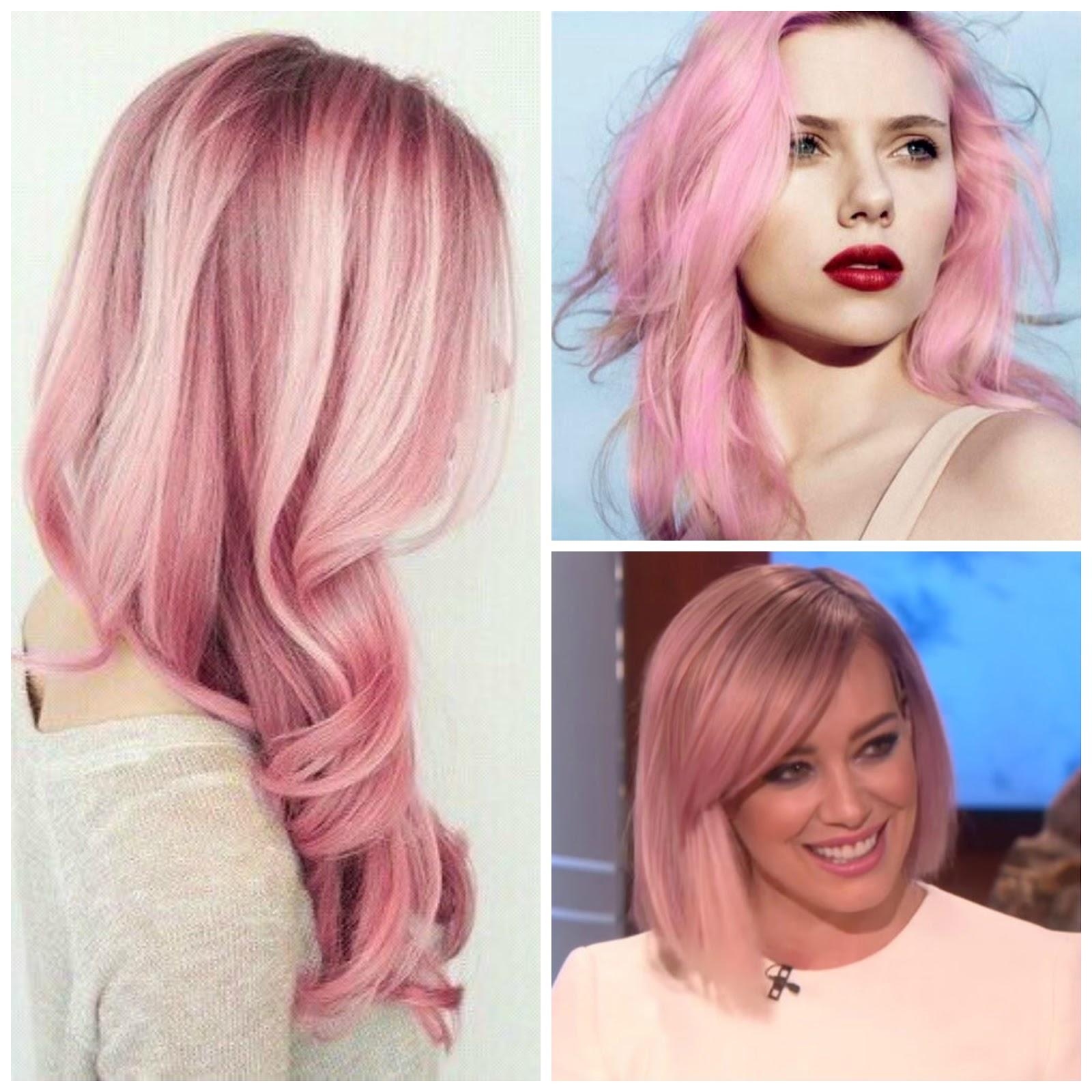 Cabello rubio con rosa pastel