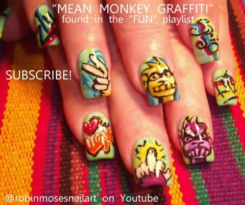 Robin Moses Nail Art: graffiti nails, graffiti monkey nail ...