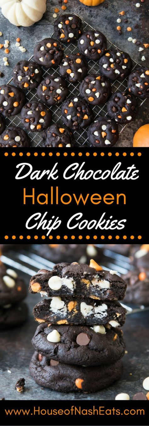 Dark Chocolate Halloween Chip Cookies