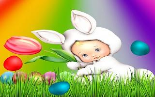 Coniglietto bianco con uova di Pasqua