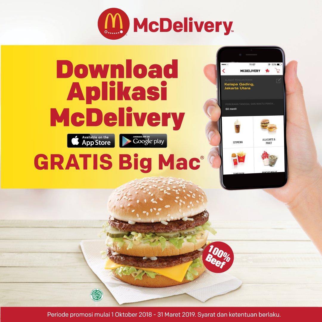 McDonalds - Promo Gratis Big Mac di Aplikasi McDelivery (s.d 31 Mar 2019)