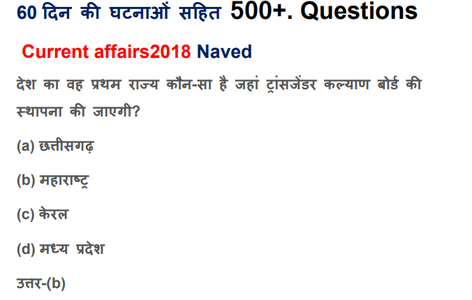 January & February 2018 Current Affairs Hindi PDF Download