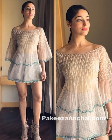 Yami Gautam in Boat Neck Once Piece Dress by Pallavi Mohan
