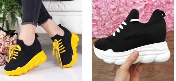 Adidasi cu platforma inalta de fete negri din piele eco intoarsa