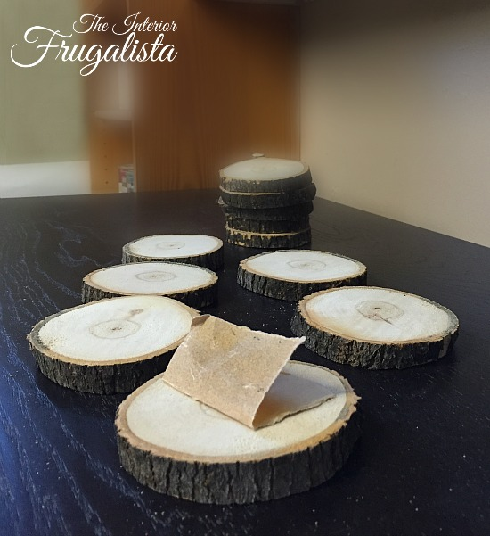 180 grit sandpaper to smooth tops of wood slices for Holiday Coasters