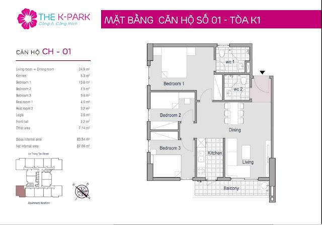 Căn hộ 83,2 m2 thông thủy chung cư The K Park Hà Đông