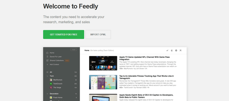 Feedly feed reader