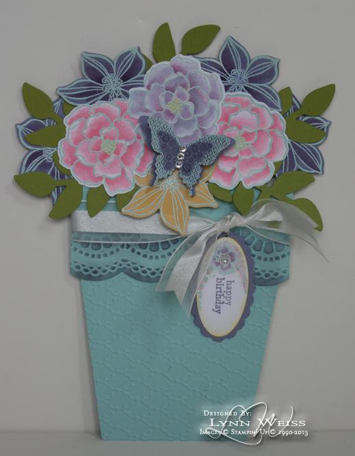 lw designs secret garden flower pot pocket card