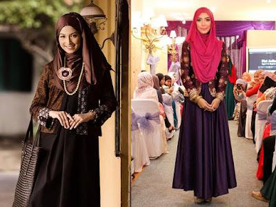 Cardigan Batik Kombinasi Long Dress Polos